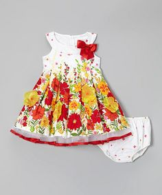 Look what I found on #zulily! Red & Yellow Floral Garden Dress & Diaper Cover - Infant #zulilyfinds