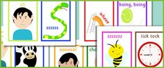 A set of 10 picture cards to be used with the voice sounds activity outlined on page 37 of the letters and sounds publication. Phonics Reading, Teaching Phonics, Preschool Literacy, Alphabet Activities, Early Literacy, Learning Activities, Teaching Resources, Primary Teaching, Early Years Teaching