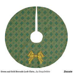 Green and Gold Brocade Look Christmas Tree Skirt