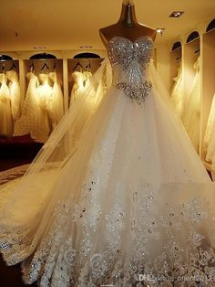 Wholesale 2014 Newest Luxury bride dress Sweetheart Swarovski crystals Applique Bead cathedral wedding dresses Evening gown, Free shipping, $200.52/Piece | Crystal beaded wedding dress #wholesale #dhgate #weddingdress #bling cathedral train, ball gown
