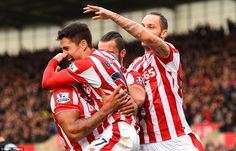 Bojan Krkic shares his delight with team-mates after setting Stoke City off on the way to . Stoke City Fc, Wayne Rooney, Manchester United, Premier League, The Unit, Football, Sport, Soccer, Futbol