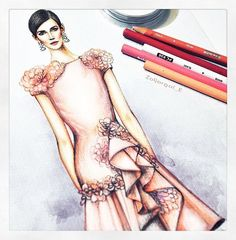 Polished. X @zoljargal_e's #pf16marchesa sketch wowed us this week. #marchesa #marchesafanfriday