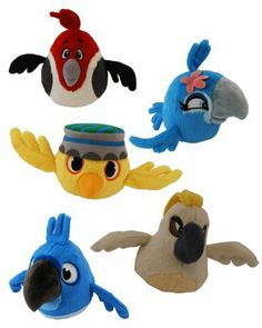 """Angry Birds - Birthday, Party & Toys - Angry Birds 5"""" Rio Movie Plush Set of 5 Figures Includes : Blu , Jewel , Pedro , Nico & Nigel; PREVIEW: http://audrey6.x30.us/reviews-viewer/index.htm?url=http://www.amazon.com/dp/B0083JELZ0?tag=angry_birds_plush_toys_games_store_sale-20"""