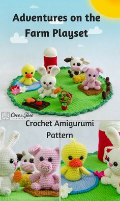 This Adventures on the Farm Playset is a set of crocheted amigurumi dolls and props that will allow your child to let their imagination run free. You can create your own Adventures on the Farm Playset with this downloadable pattern. #crochet #amigurumi #ad #farm #pig # rabbit #diuck #cow #crochetdoll #amigurumidoll #amigurumipattern #instantdownload