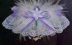 White Soccer 1 wedding bridal prom sport garter double heart key charm handmade