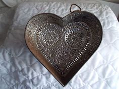 Large Punched Tin Heart Cheese Mold