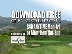 GK Coupon – CrossCreek Golf Club Tee Time Special