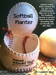 Whether your sports balls have become broken, damaged, old and/or unwanted, there is still a use for them in your garden! Softball Coach Gifts, Softball Bags, Softball Crafts, Softball Shirts, Softball Players, Softball Room Decor, Softball Decorations, Cheerleading Gifts, Basketball Gifts