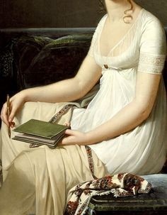 Portrait of a Woman Holding a Pencil and a Drawing Book, Detail. by Robert-Jacques-Francois Lefevre (circa 1808)
