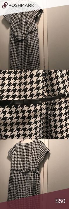 Houndstooth Dress NWT Houndstooth dress with skinny bow belt...hidden zipper in the back shelby & palmer Dresses