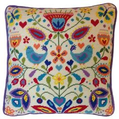 Bring back those summer memories with this bright and colourful summer melody tapestry cushion front kit which has been designed by Suzy Taylor for Bothy Threads. Cross Stitch Pillow, Cross Stitch Embroidery, Cross Stitch Patterns, Tapestry Kits, Tapestry Design, Needlepoint Pillows, Needlepoint Kits, Mermaid Cross Stitch, Bothy Threads