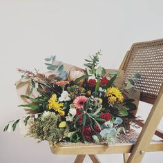 FRESH FLOWER BOUQUET F l o r a l S t y l i s t  (@pebbleanddot) Still so I love with my wicker chair ♡ Second hand finds are the best 👊 Fresh Flowers, Bouquets, Wicker, Chair, Bouquet, Bouquet Of Flowers, Stool, Chairs, Loom