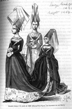 Burgundian dress and henins 1450, french women.