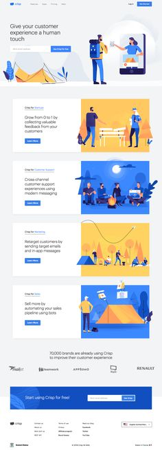 Crisp landing page design inspiration – Lapa Ninja Crisp – Customer Messaging For Startups Image by Matthias Mersch Web Design Trends, Design Websites, Web Design Quotes, Web Design Tips, Web Design Company, Design Process, Ios App Design, Mobile App Design, Logo Design