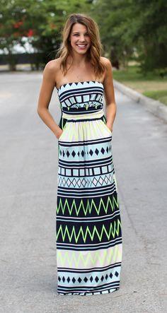 Electric Maxi Dress - Lime