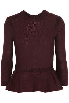 Burberry London|Textured-knit peplum sweater|NET-A-PORTER.COM