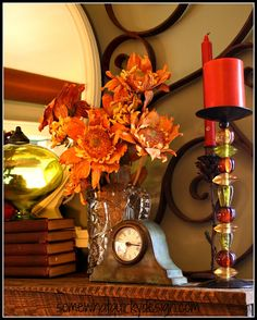 **1** Details:  The old clock and that candle stick (could be a DIY)........