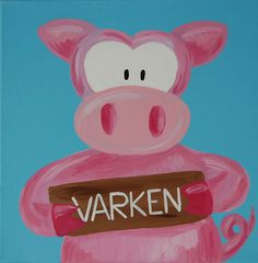 Beestenboel schilderij: Varken. Bestaat uit een serie van negen schilderijen 30cm bij 30cm. Stephanie Fiseler | Unieke, vrolijke, kleurrijke schilderijen voor baby- & kinderkamers