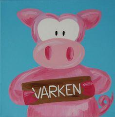 Beestenboel schilderij: Varken. Bestaat uit een serie van negen schilderijen 30cm bij 30cm. Stephanie Fiseler   Unieke, vrolijke, kleurrijke schilderijen voor baby- & kinderkamers