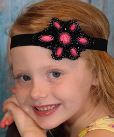 Look what I found on #zulily! Black & Pink Vintage Beaded Charm Boho Halo Headband by Chicky Chicky Bling Bling #zulilyfinds