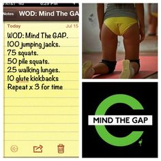 Mind the gap x3 for time #wod #crossfit #mindthegap.....at home workout for the legs and booty