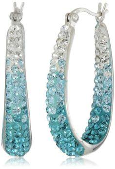Carnevale Sterling Silver Colored Hoop Earrings with Swarovski Elements - $90