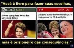 Dilma agradece os votos da Bahia subindo a gasolina P/ 4 reais!