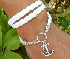 Boho Triple Wrap Bracelet - Silver Anchor Charm - Braided  Faux Suede Bohemian Wrap - Pick COLOR / SIZE - Gift For Her - Made in Canada 05