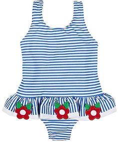 d6e012314 Florence Eiseman Stripe Seersucker Ruffle One-Piece Swimsuit w/ Flower  Trim, Size Months