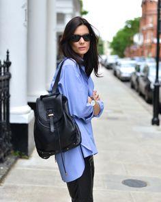 classic + comfortable oversized oxford, wayfarers + black leather backpack