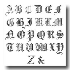 Old English Alphabet.  Individual larger letters are also presented.