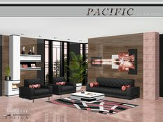 The Pacific Heights Living Room mixes comfy furnishings with sharp lines and accent colors to create a family room for reading, relaxing and entertaining guests.  Found in TSR Category 'Sims 3...