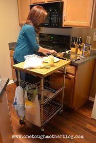 One Tough Mother: Small Kitchen Organization Ideas I can get this thing from Ikea.