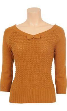 Vintage Inspired Autumn   ◦   Wool Sweater Bow Pattern Hazel Mosterd   ◦   King Louie AW14