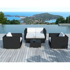 Carcina 6 : table de jardin en aluminium et polywood 6 personnes + 6 ...