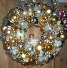 "Vintage Handmade Christmas Ornament Wreath Shiny Brite Gold 20"" Glass Angel | eBay"