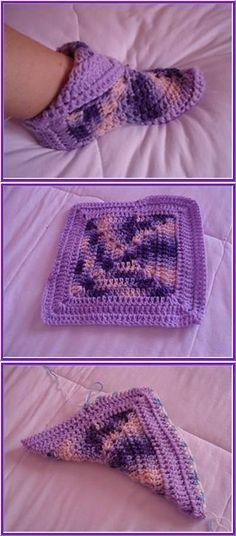 Crocheted Slippers, Easy Crochet Socks, Crochet Boots, Easy Knitting, Crochet Clothes, Crochet Granny, Crochet Squares, Crochet Yarn, Love Crochet