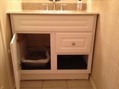 Hidden cat litter box- remove drawer of vanity so you don't have to permanently change anything.