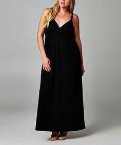 Another great find on #zulily! Black Surplice Maxi Dress - Plus by Christine V #zulilyfinds
