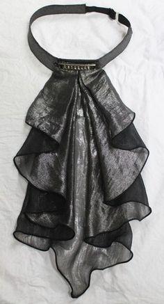 Korea Men's peal lame print rhinestones-point Ruffled Cravat BLACK TIE