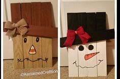 Fall Winter Seasonal Wood Reversible Decoration Made From Pallet Wood Snowman Scarecrow by ReclaimedCre8tions on Etsy https://www.etsy.com/listing/246400585/fall-winter-seasonal-wood-reversible