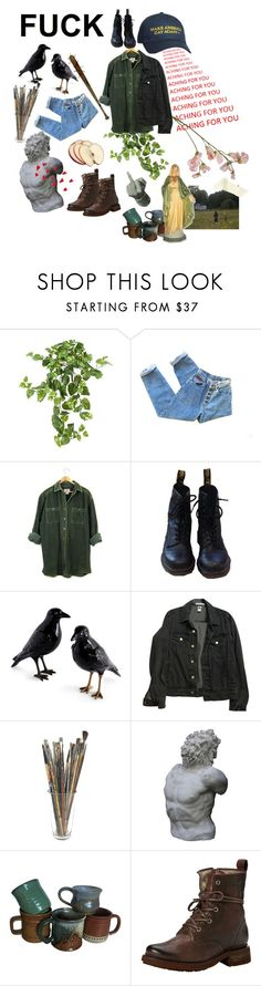 """""""gay farmer"""" by chaoscount ❤ liked on Polyvore featuring Nearly Natural, Dr. Martens, GET LOST, American Apparel, Romanelli, Frye, men's fashion, menswear, ronan and theravenboys"""