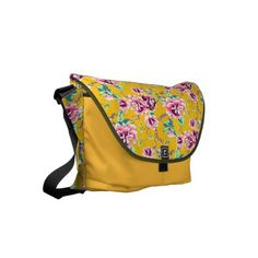 Bright Pink Flowers on Bold Yellow Small Messenger Bag - flowers floral flower design unique style