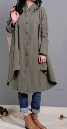 women linen coat army green Coat Single breasted by dreamyil
