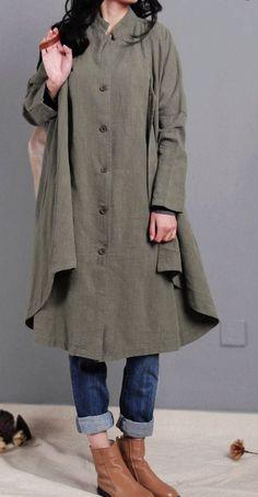 women linen coat army green Coat Single breasted by dreamyil