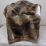 natural rabbit fur throw