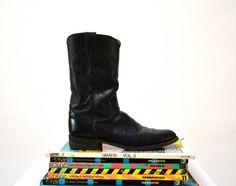 Amazing 90s Black Leather Boots Size 6 1/2 By by Hookedonhoney