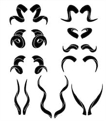 Black silhouettes of ram and antelope horns Poster vector illustration Poster. Demon Drawings, Creature Drawings, Art Drawings, Arte Aries, Aries Art, Art Reference Poses, Drawing Reference, Antelope Horns, Dragon Horns