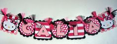 Hello Kitty Name Banner Hot PInk Polka Dot by SparrowsKreations, $16.50