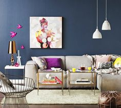 Slate Blue and Vibrant Purple